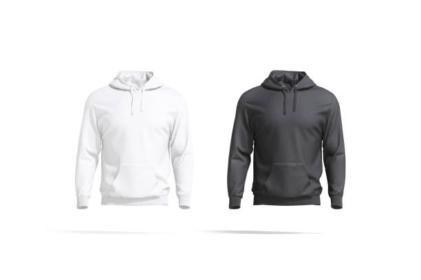 Blank black and white sport hoodie with hood mockup set stock photo