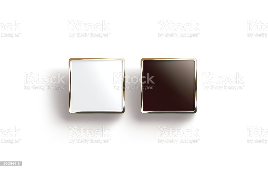 Blank black and white square gold lapel badge mock up stock photo