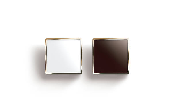blank black and white square gold lapel badge mock up - badge logo stock photos and pictures