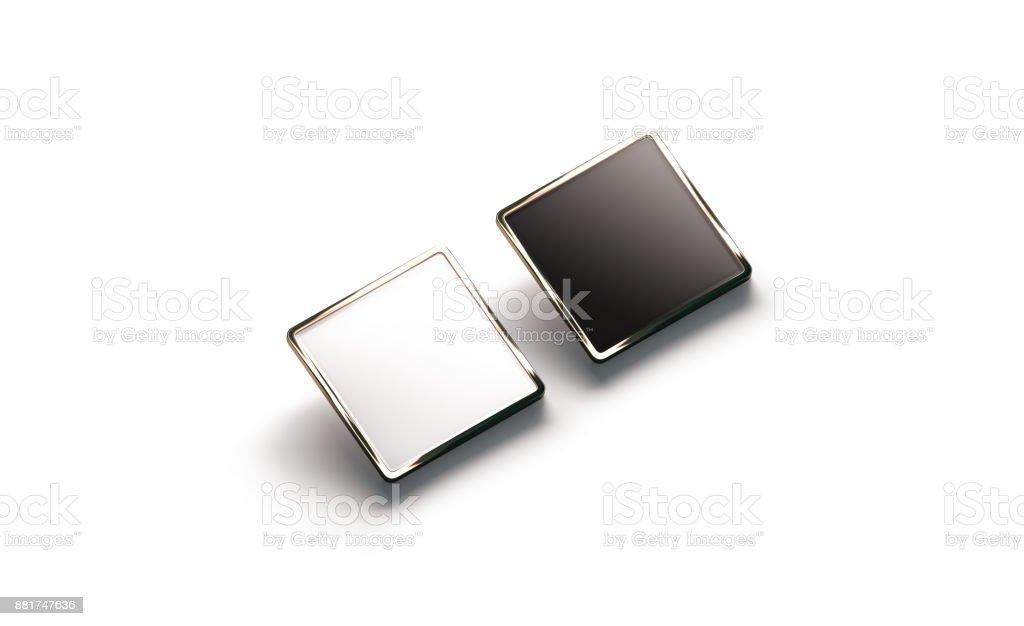Blank black and white square gold lapel badge mockup stock photo