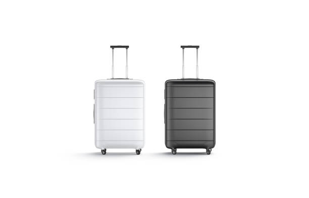 Blank black and white suitcase with handle mockup stand isolated stock photo