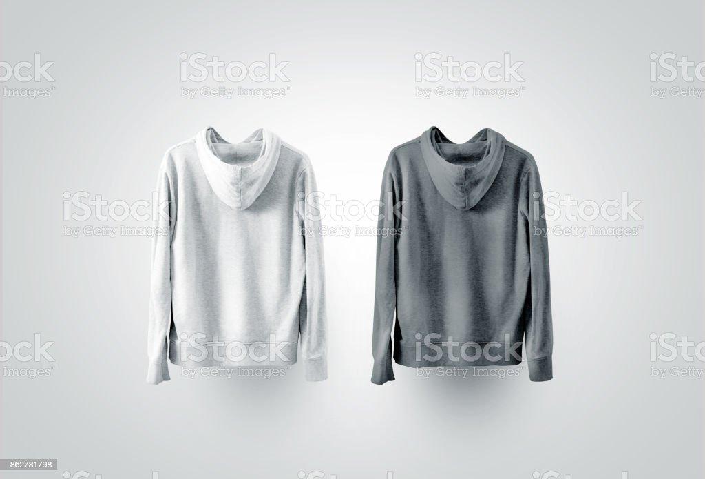 Blank black and white sweatshirt mockup set, back side view stock photo