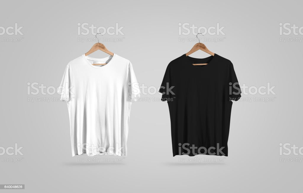 Blank black and white t-shirt on hanger, design mockup stock photo