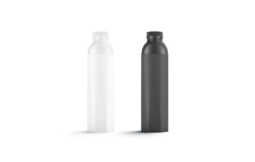 Blank black and white water bottle mockup set, isolated