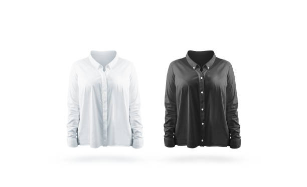 Blank black and white woman shirt mock up set Blank black and white woman shirt mock up set, isolated. Empty classic office jacket with long sleeves mockup. Clear casing with collar uniform template, front view blouse stock pictures, royalty-free photos & images