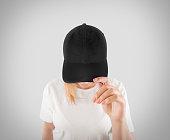 Blank black baseball cap mockup template, wear on women head