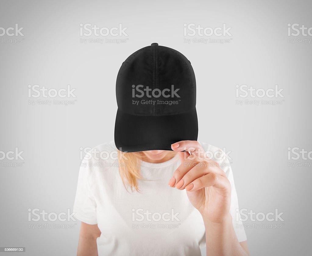 Blanco negro gorra de béisbol bosquejo plantilla, desgaste en las mujeres de - foto de stock