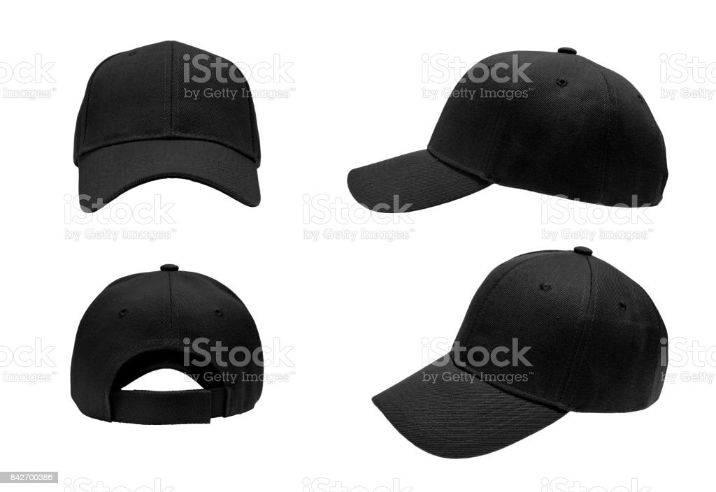 blank black baseball hat 4 view on white background stock photo