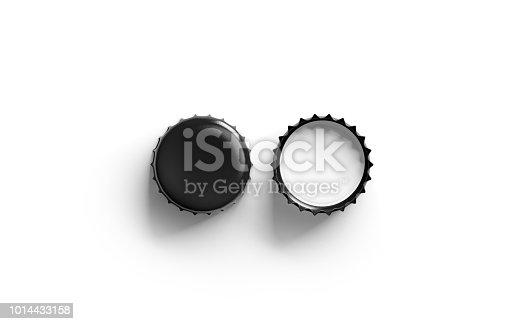 istock Blank black beer lid mockup, top view, front and back side 1014433158