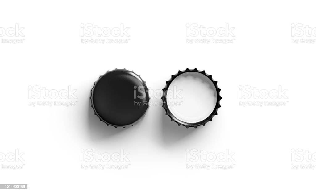 Blank black beer lid mockup, top view, front and back side stock photo