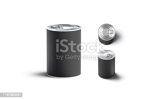 istock Blank black big conserve can mock up, different view 1192983581