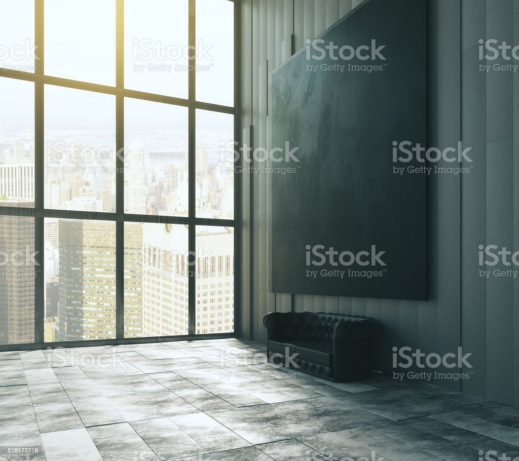 Blank black big picture above leather sofa stock photo