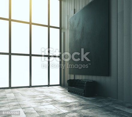 istock Blank black big picture with leather sofa and big window 515322232