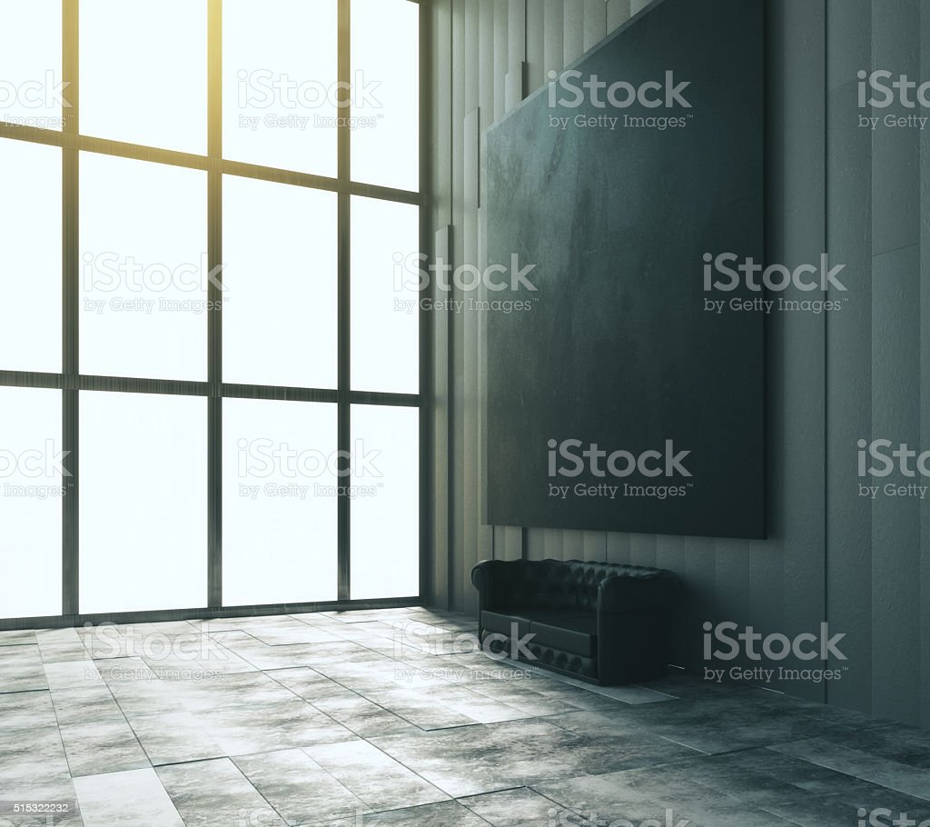 Blank black big picture with leather sofa and big window stock photo