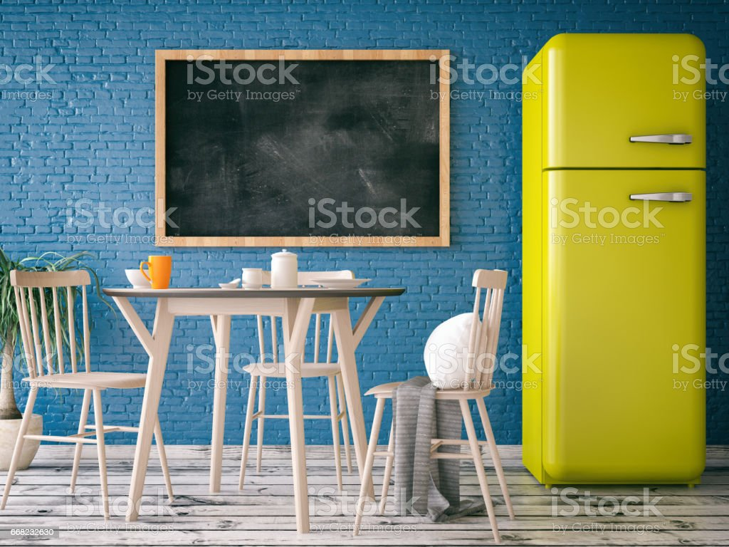 Blank Black Board on Kitchen's Wall stock photo