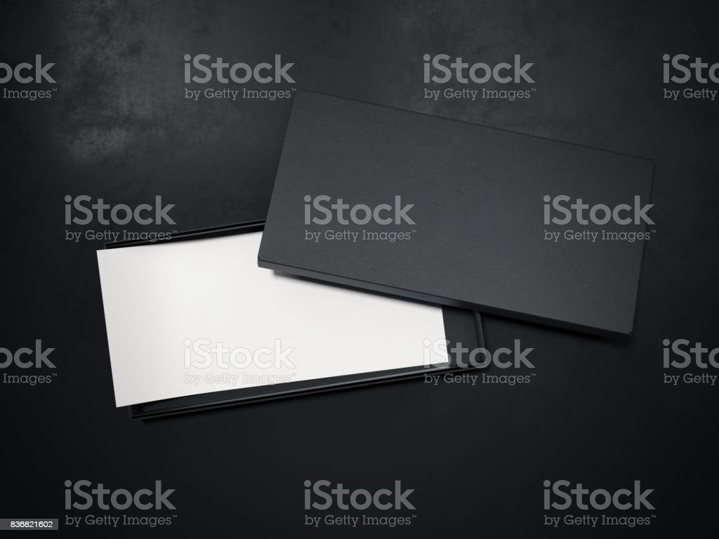 Blank black box with white flyer. 3d rendering stock photo
