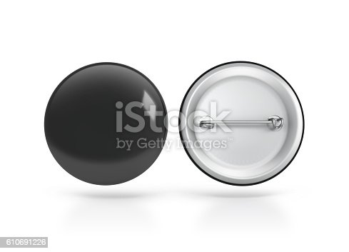 istock Blank black button badge mockup, front back side, clipping path 610691226