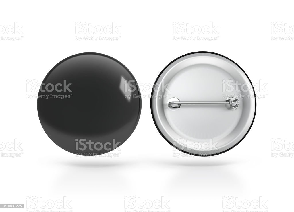 Blank black button badge mockup, front back side, clipping path stock photo