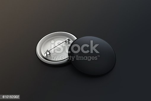 istock Blank black button badge stack mock up, clipping path 610152002