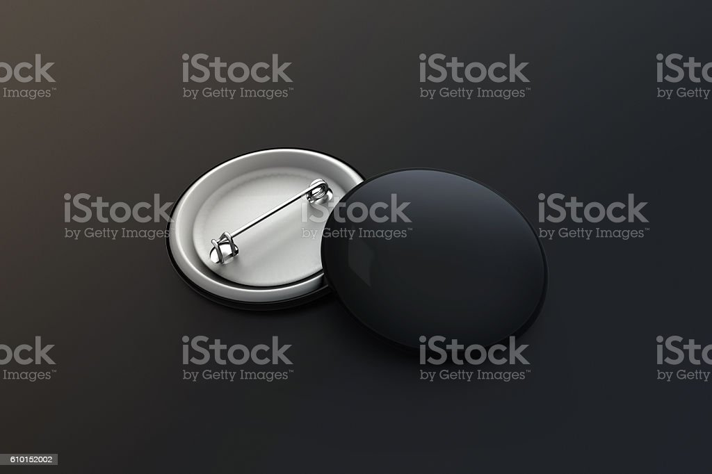 Blank black button badge stack mock up, clipping path stock photo