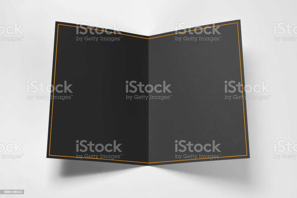 Carte noire vierge avec cadre jaune - Photo