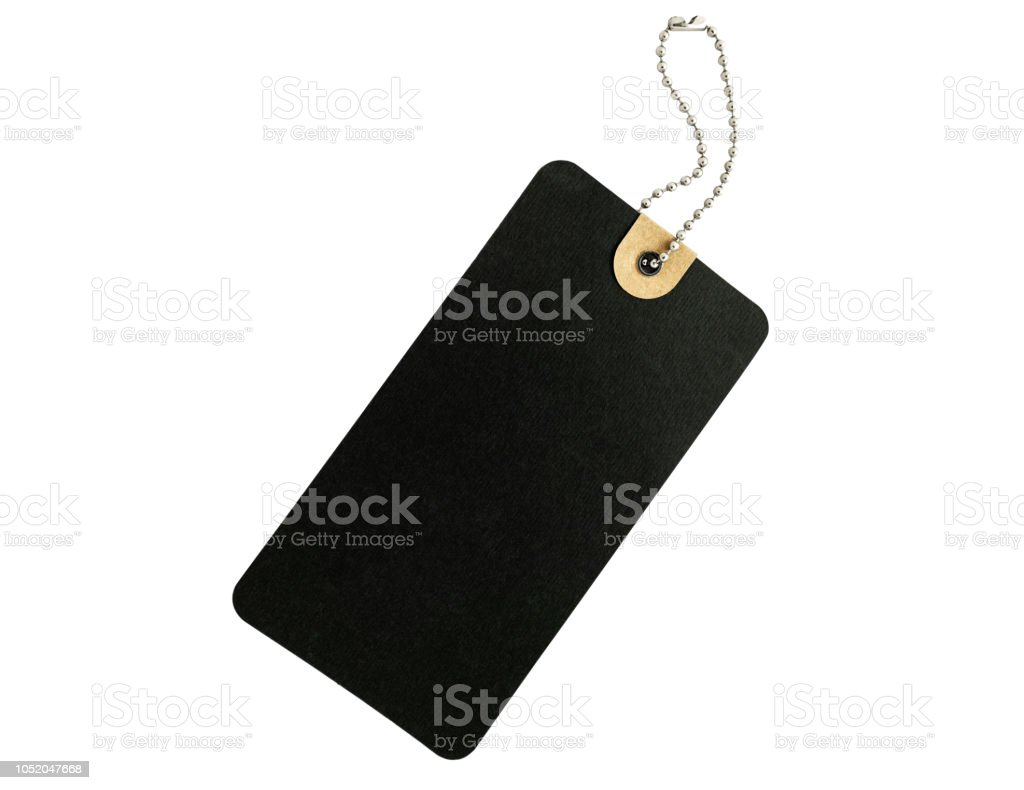 Blank Black cardboard Price tag or label isolated on a white background, With clipping path. stock photo
