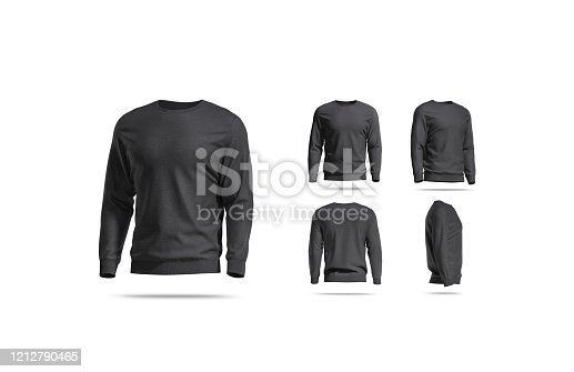 Blank black casual sweatshirt mock up, different views, 3d rendering. Empty cotton trendy hoody or blazer mockup, isolated. Clear textile loose apparel for daily outfit mokcup template.