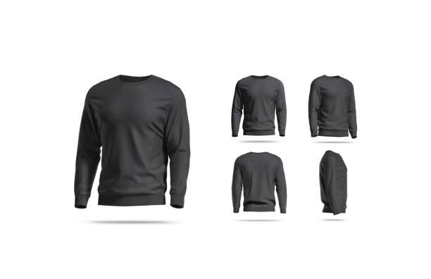 Blank black casual sweatshirt mock up, different views stock photo