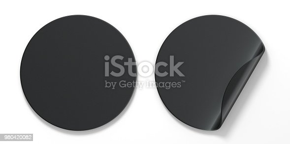 istock Blank black circle stickers with curved corner 3D 980420082