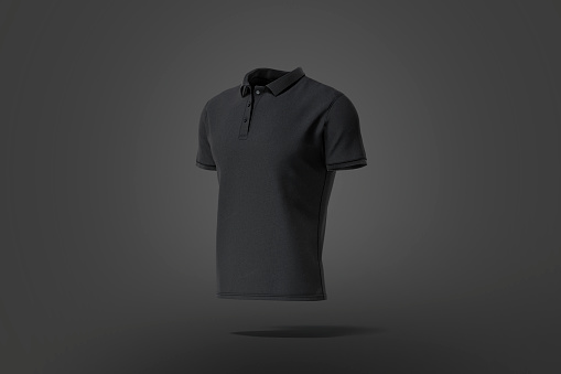 Blank black classic polo shirt mock up, dark background, 3d rendering. Empty casual t-shirt jersey model mockup, side view. Clear fabric poloshirt for men fashion outfit template.