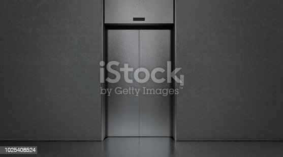 Blank black closed elevator in office floor interior mock up, 3d rendering. Empty lift with buttons near concrete wall mockup. Concept of business center or hotel lifting template in darkness