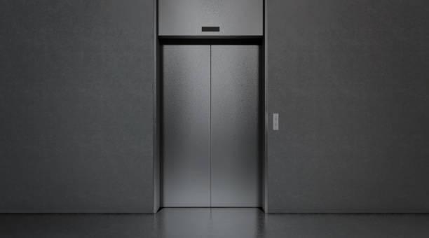 blanko schwarz geschlossen aufzug im büro innenraum mock-up - eingangshalle wohngebäude innenansicht stock-fotos und bilder