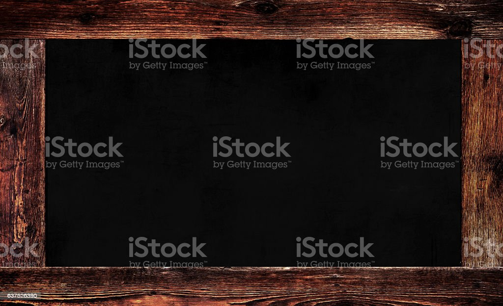 Blank Black Coffee Shop Chalkboard with Wooden Border stock photo