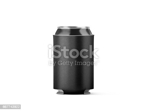 istock Blank black collapsible beer can koozie mockup isolated 667743922