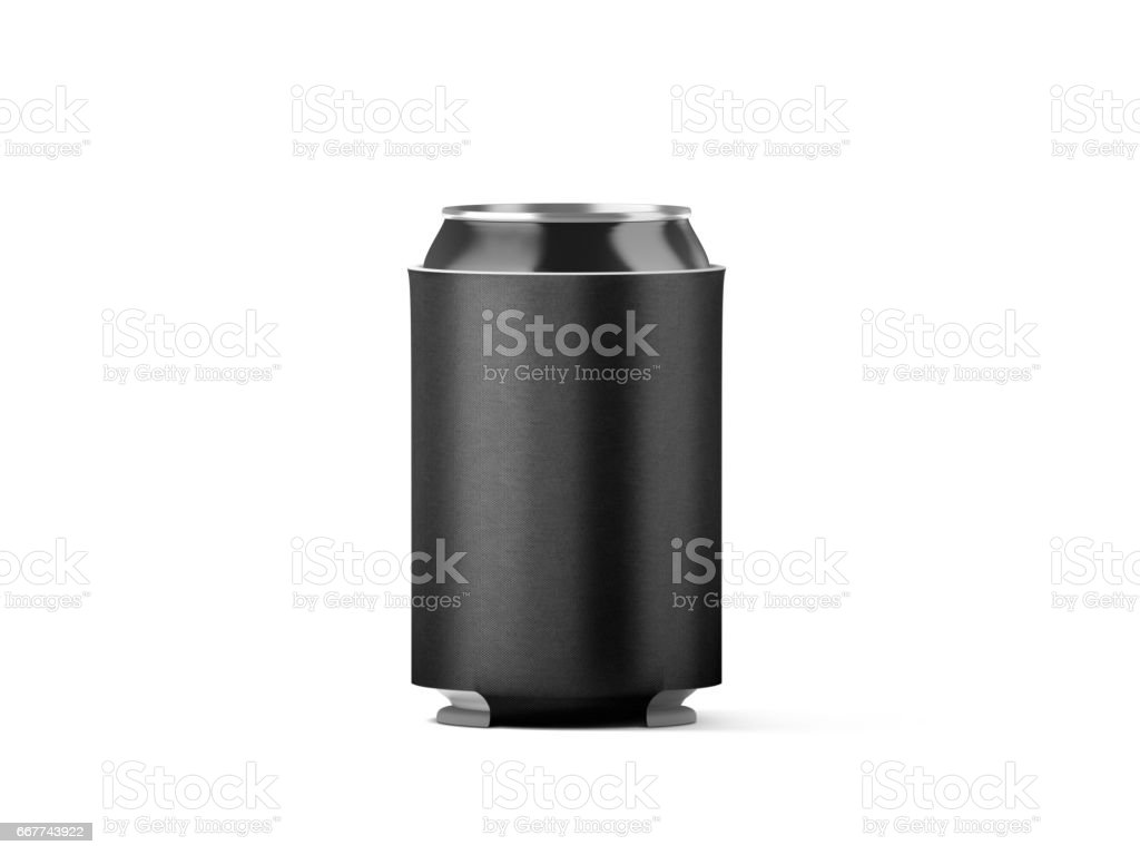 Blank black collapsible beer can koozie mockup isolated stock photo