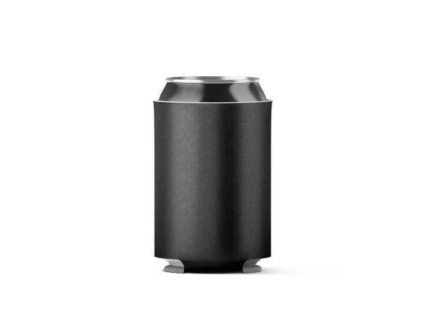 Blank black collapsible beer can koozie mockup isolated Blank black collapsible beer can koozie mockup isolated, 3d rendering. Empty neoprene cooler holder mock up for tin beverage. Plain drinkware hugger design template. Clear fizzy pop soda sleeve. cooler container stock pictures, royalty-free photos & images