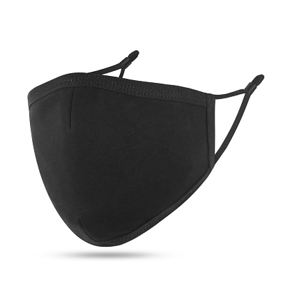 Blank black cotton reusable cloth mask isolated on white background. Front view. Empty surgical mask for mockup. Clear protective face mask for template & branding.