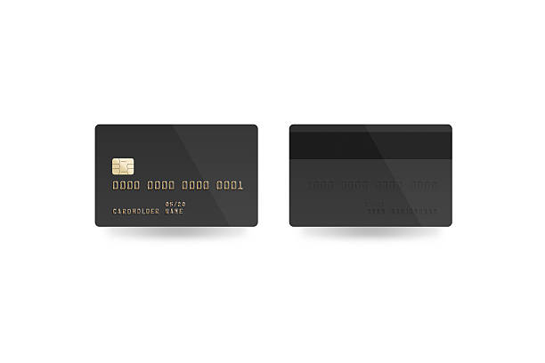 Blank black credit card mockup isolated, clipping path, stock photo