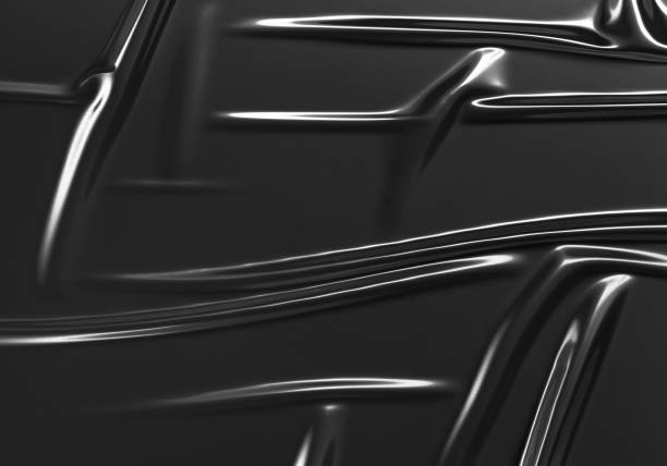 Blank black crumpled plastic foil wrap overlay mock up stock photo