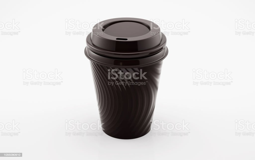 Blank black disposable coffee cup stock photo