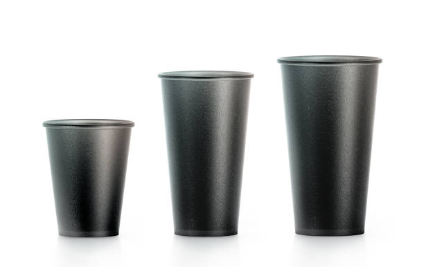 Blank black disposable paper cup mock ups isplated, large stock photo