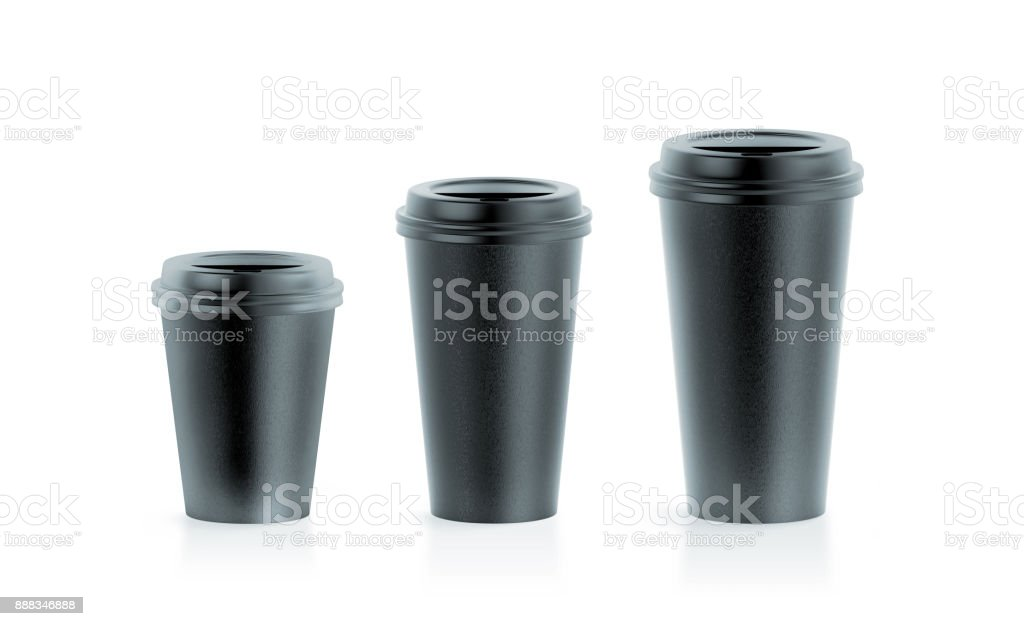 Blank black disposable paper cup mock ups with lids stock photo