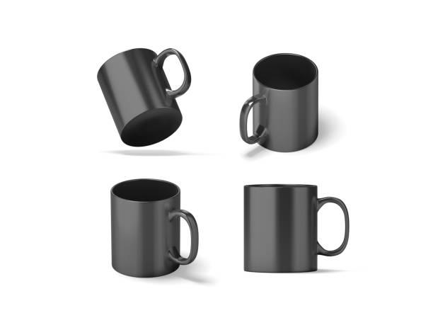 leeres schwarzes glas becher mock ups satz isoliert - porzellan druck stock-fotos und bilder
