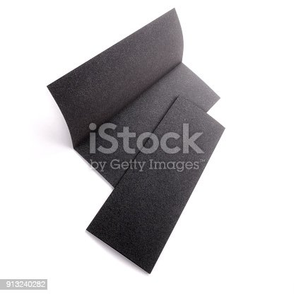 1141440440 istock photo Blank black half folded booklet mockup, opened and closed isolated on white background. Empty template booklet for your design. 3d rendering. 913240282