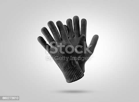 istock Blank black knitted winter gloves mockup 660273610