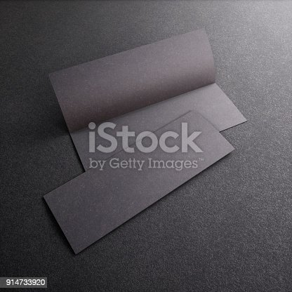 1141440440 istock photo Blank black leaflet Mockup on black, booklet. 3d rendering 914733920