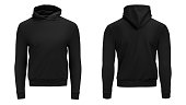 istock Blank black male hoodie sweatshirt long sleeve with clipping path, mens hoody with hood for your design mockup for print, isolated on white background. Template sport winter clothes 1124815165