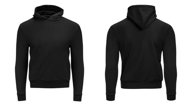 Blank black male hoodie sweatshirt long sleeve with clipping path, mens hoody with hood for your design mockup for print, isolated on white background. Template sport winter clothes stock photo