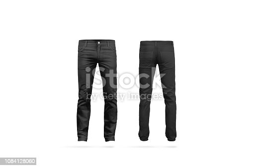 Blank black mens pants mock up, isolated, front and back side view. Empty classic male trousers mockup. Clear denim clothing for work template. Casual jeans for office uniform.