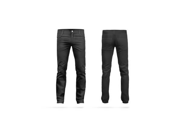 em branco preto mens calças simulado acima, isolado - calça comprida - fotografias e filmes do acervo